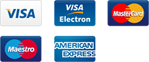 We support Visa, Visa Electron, Mastercard, Maestro, American Express and more